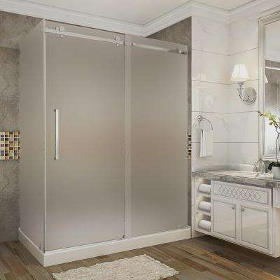 Moselle 60 in. x 35 in. x 77.5 in. Frameless Sliding Shower Enclosure and Frosted in Stainless Steel with Left Base