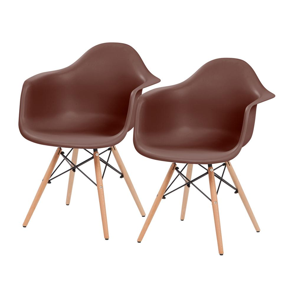 Brown Plastic Shell Chair with Arm Rest (Set of 2)