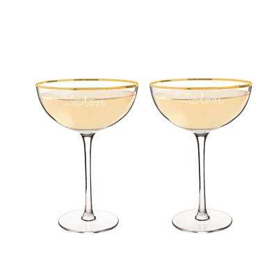 Love 8 oz. Gold Rim Coupe Flutes (4-Pack)