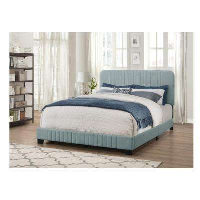 All in One Blue King Bed with Channeled Headboard and Footboard. Blue   Beds   Headboards   Bedroom Furniture   The Home Depot
