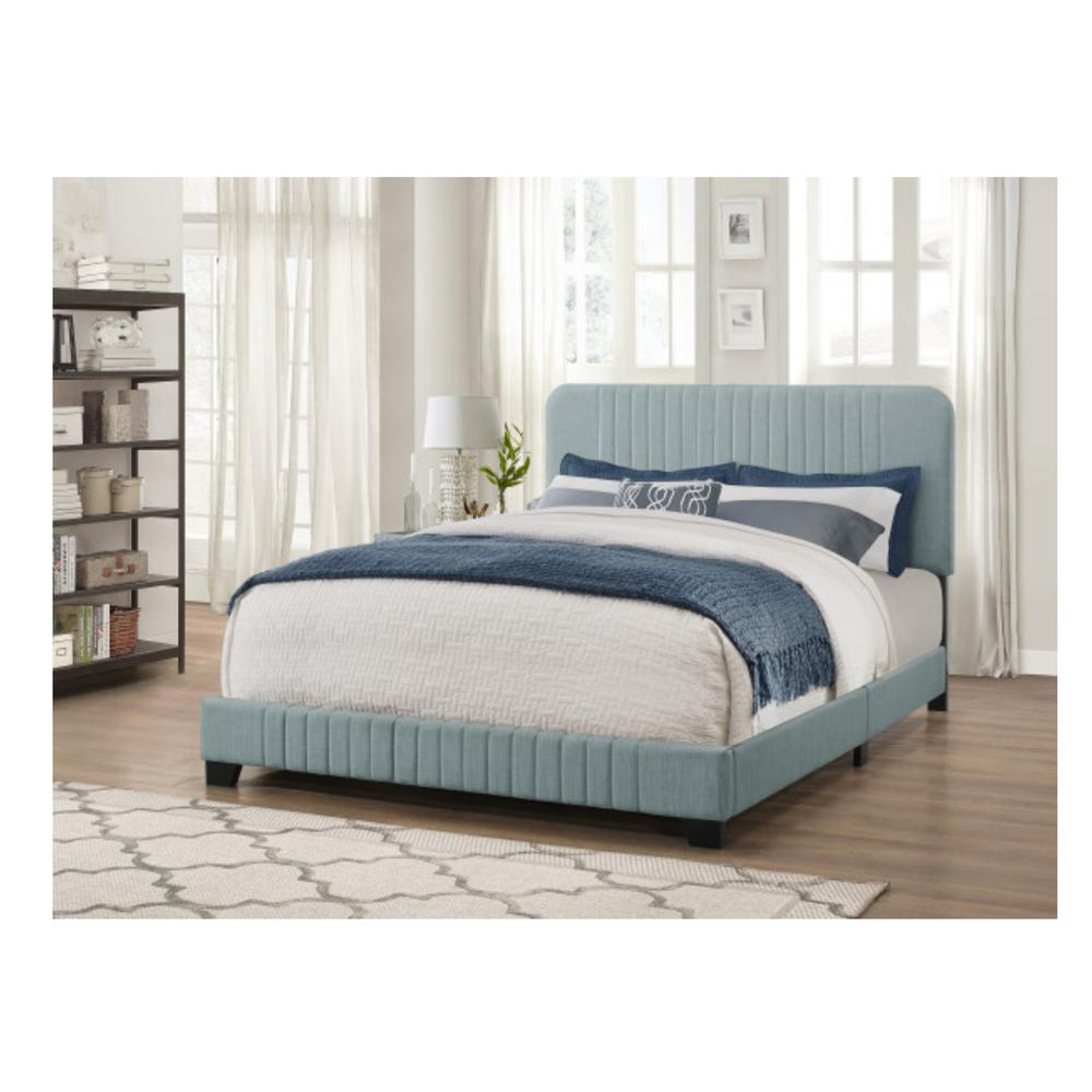 Pulaski Furniture All In One Blue King Bed With Channeled Headboard