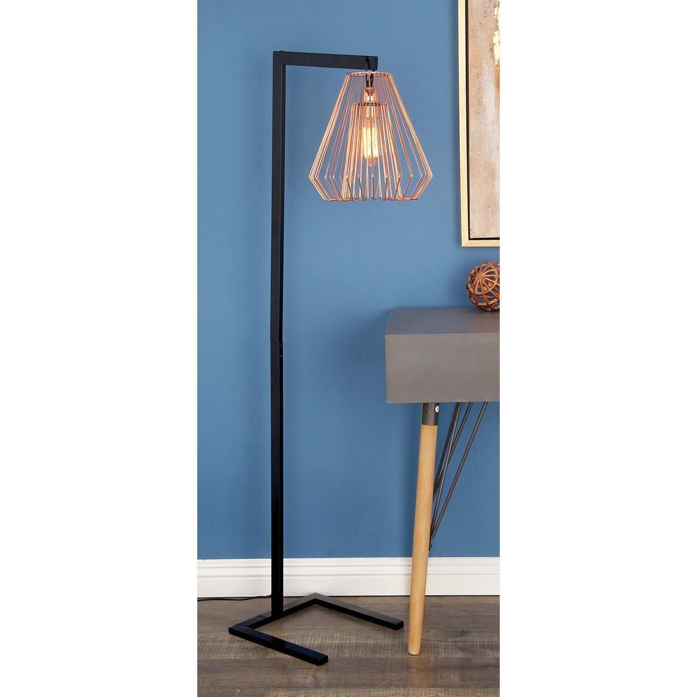 55 in. Modern Iron Wire Diamond Floor Lamp in Rose Gold