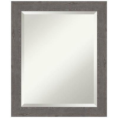 Medium Rectangle Distressed Grey Beveled Glass Modern Mirror (23.25 in. H x 19.25 in. W)