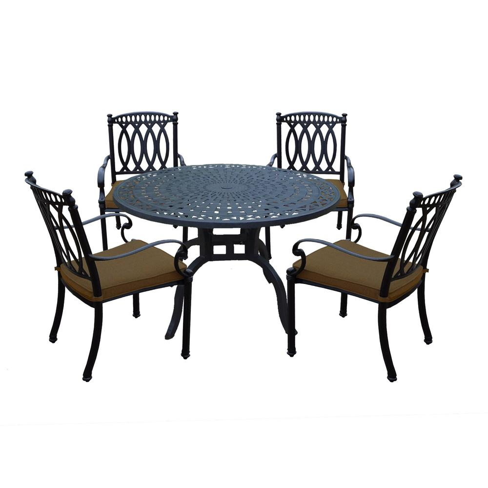 Internet 303751050 morocco aluminum 5 piece outdoor dining set with sunbrella brown cushions