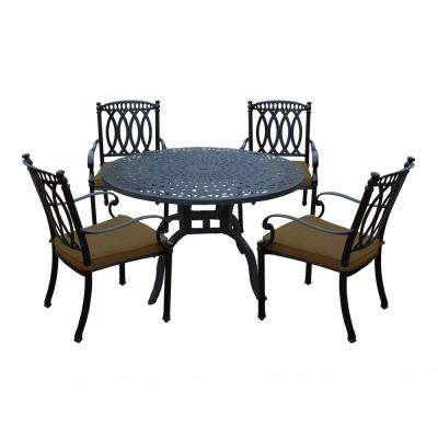 Morocco Aluminum 5-Piece Outdoor Dining Set with Sunbrella Brown Cushions