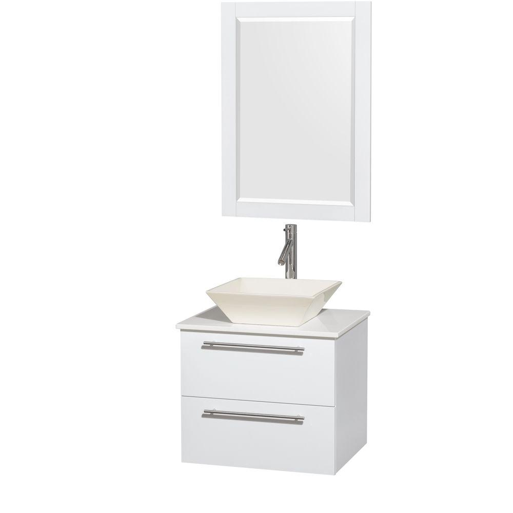 Amare 24 in. Vanity in Glossy White with Solid-Surface Vanity Top