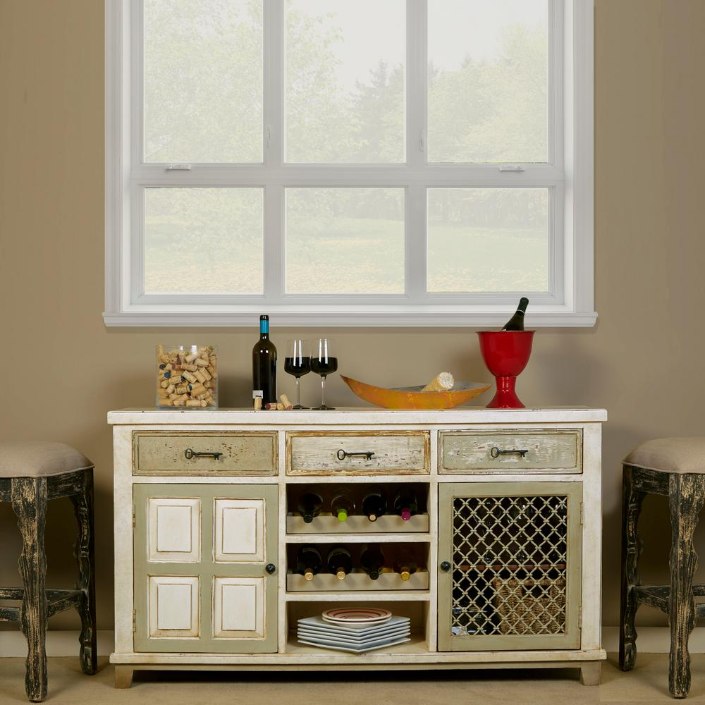 Hillsdale LaRose Handpainted White and Gray Storage Conso...