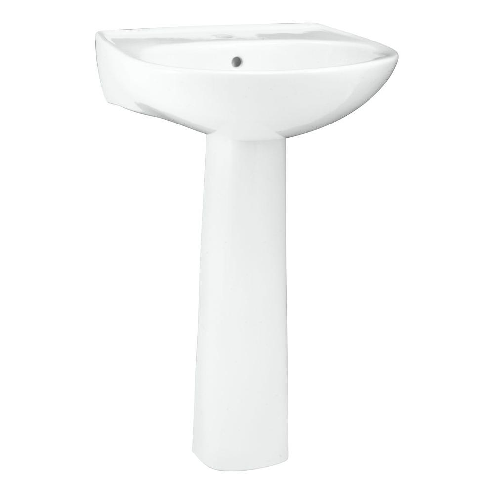 Delightful STERLING Sacramento Pedestal Combo Bathroom Sink In White