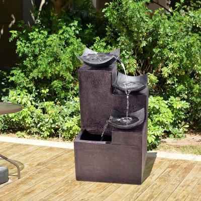 Outdoor Modern Tiered Zen Fountain