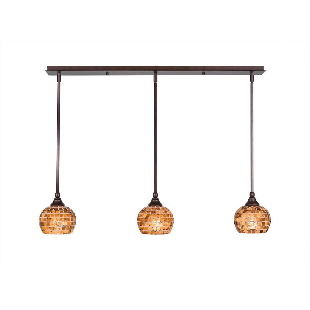 Cambridge 3-Light Bronze Island Pendant with Copper Cracked Glass