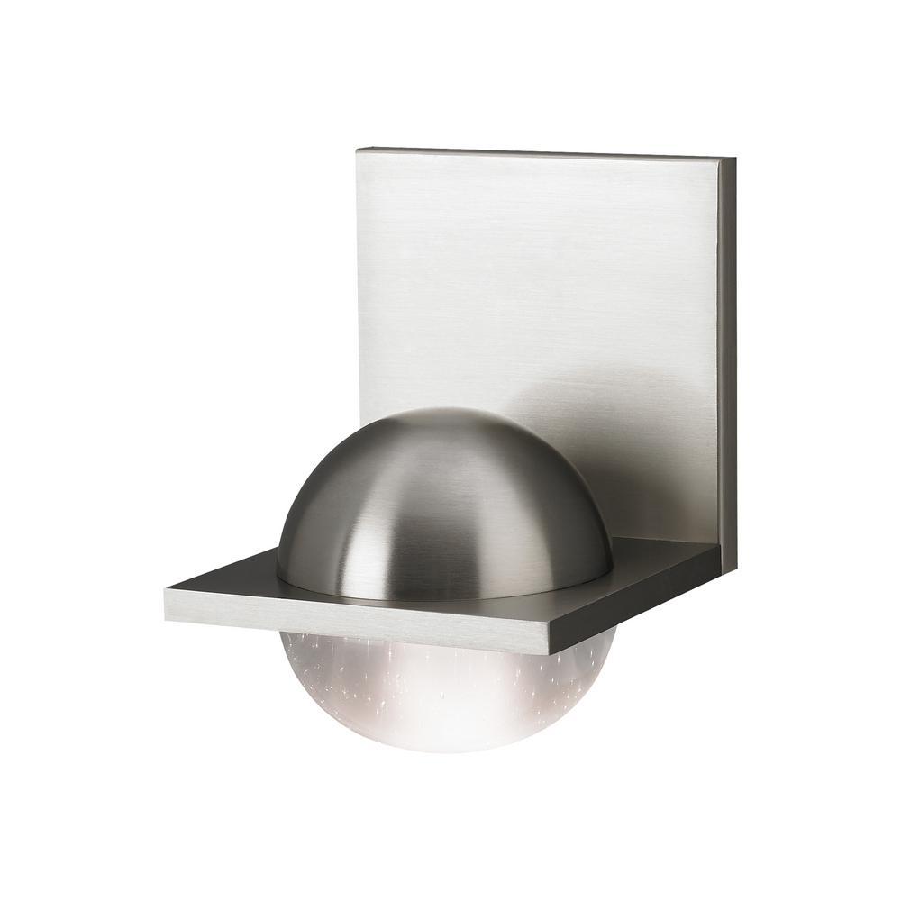 Sphere 9-Watt Satin Nickel Integrated LED Sconce