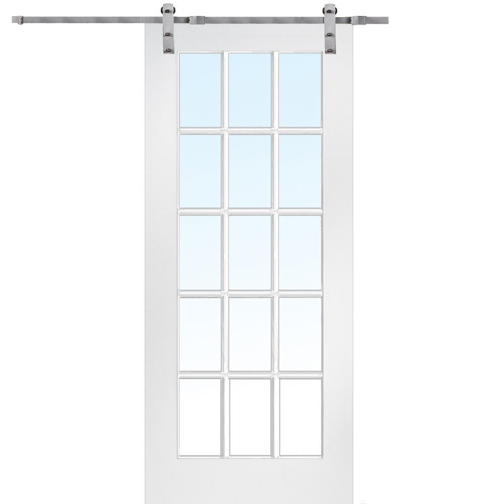 MMI Door 36 in. x 84 in. 15 Lite True Divided Primed MDF Sliding Barn Door with Hardware Kit was $589.0 now $413.0 (30.0% off)