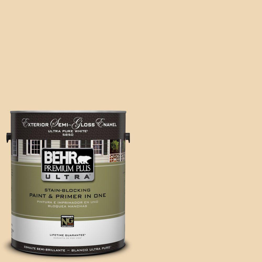BEHR Premium Plus Ultra 1-Gal. #UL180-17 Hummus Semi-Gloss Enamel Exterior Paint