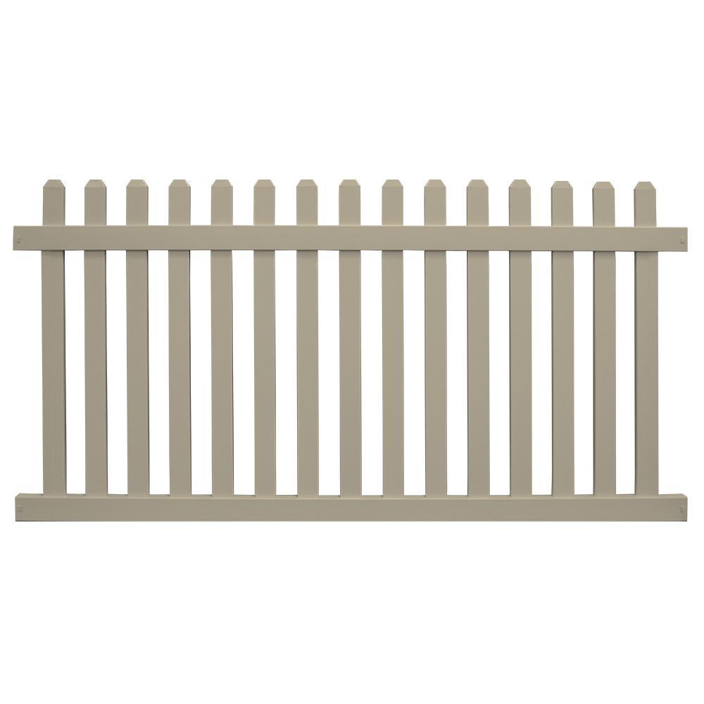 Weatherables Chelsea 3 Ft H X 6 Ft W Khaki Vinyl Picket Fence