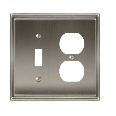 Mulholland 1-Toggle and 1-Duplex Outlet Combination Wall Plate, Satin Nickel