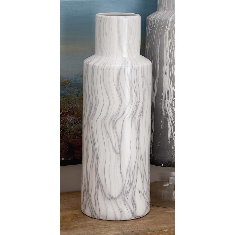 21 in. Classic Marble Cylinder White Ceramic Decorative Vase