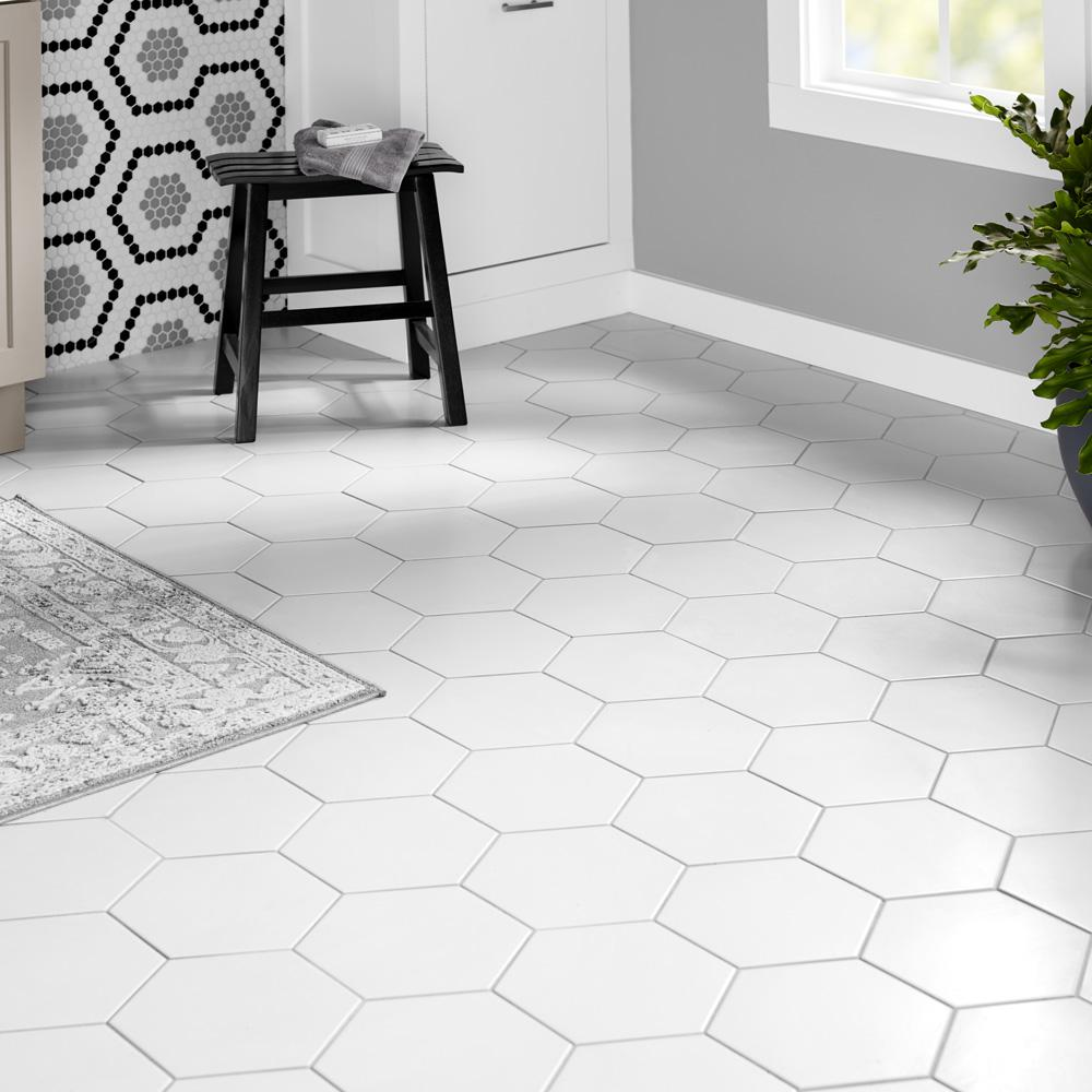 Merola Tile Textile Hex White 8 5 In