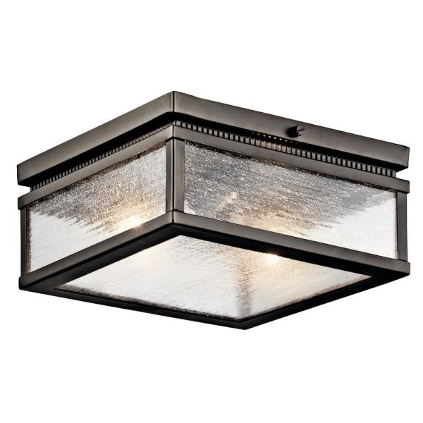 Manningham 2-Light Olde Bronze Outdoor Flush Mount with Clear Seedy Glass