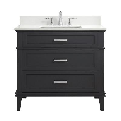 Woodfall 37 in. W x 22 in. D Bath Vanity in Dark Grey w/ Engineered Marble Vanity Top in Winter White w/ White Basins