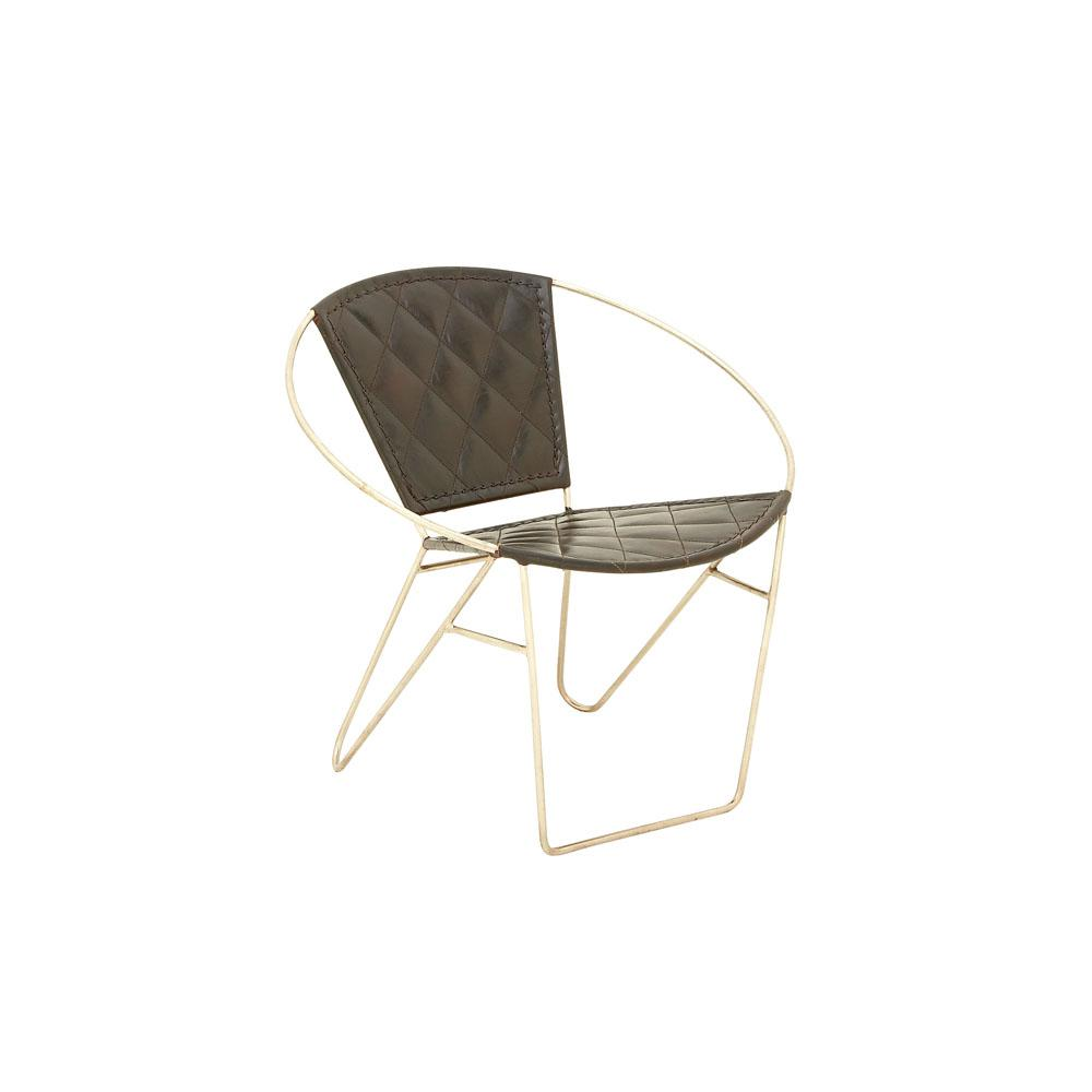 Litton Lane Dark Brown Leather Arm Chair With Silver Iron.