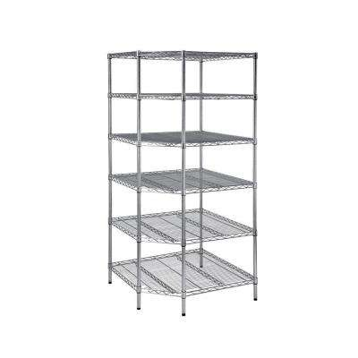 6 Shelf 72 in. H x 33 in. W x 33 in. D Heavy Duty Wire Corner Shelving Unit in Chrome