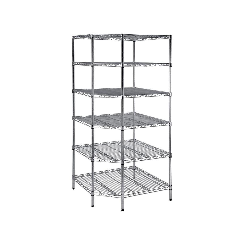 6 Shelf 72 in. H x 33 in. W x 33 in. D Heavy Duty Wire Corner Shelving Unit in Chrome