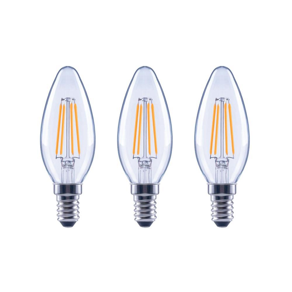 EcoSmart EcoSmart 60-Watt Equivalent B11 Dimmable ENERGY STAR Clear Glass Filament Vintage Edison LED Light Bulb Bright White (3-Pack)