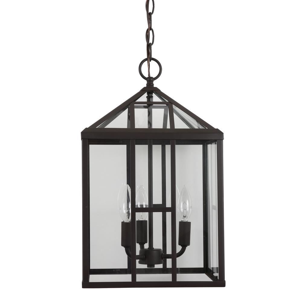 Addison 3-Light Bronze Metal and Glass Lantern Pendant