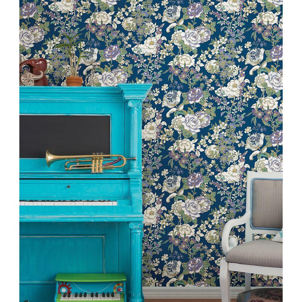 A-Street Ainsley Indigo Boho Floral Wallpaper