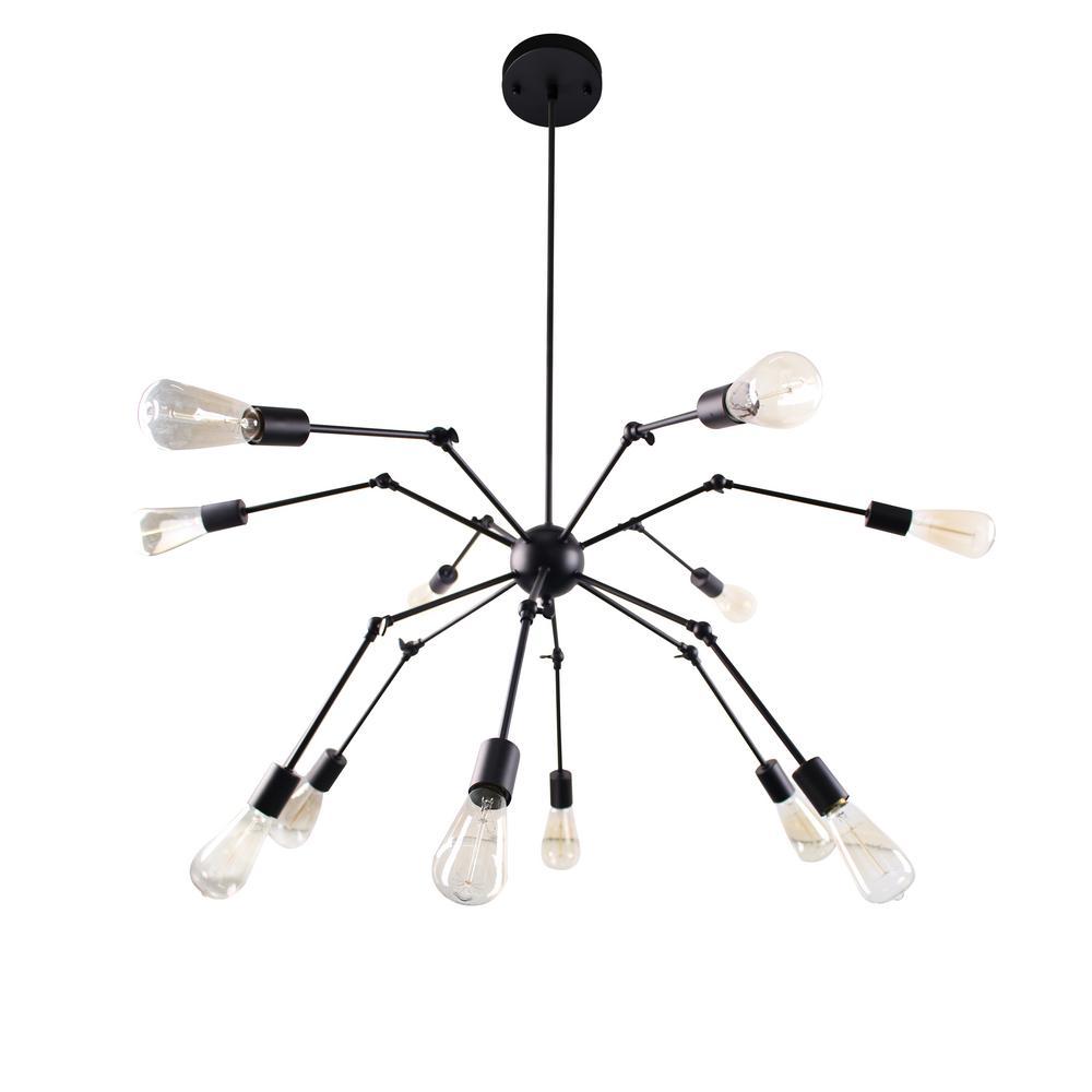 Spider 12-Lights Antique Black Chandelier