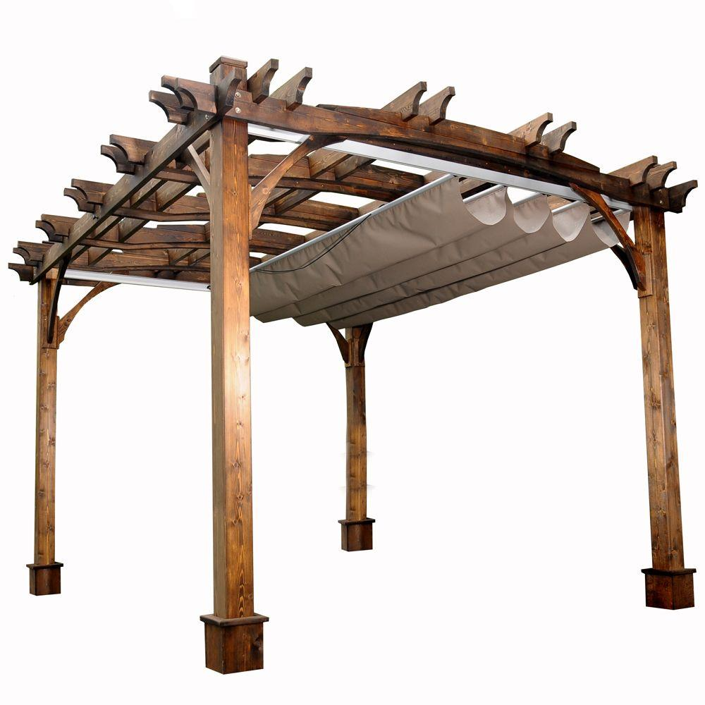 Arched Breeze Cedar Pergola with Retractable  sc 1 st  The Home Depot : gazebo with retractable canopy - memphite.com