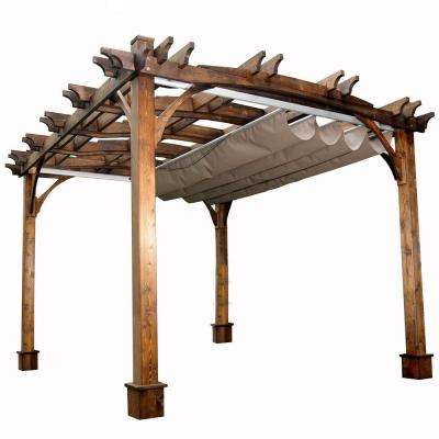 10 ft. x 12 ft. Arched Breeze Cedar Pergola with Retractable Canopy