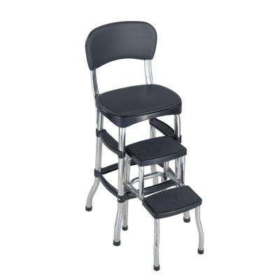 2-Step 3 ft. Aluminum Retro Step Stool with 225 lb. Load Capacity in Black