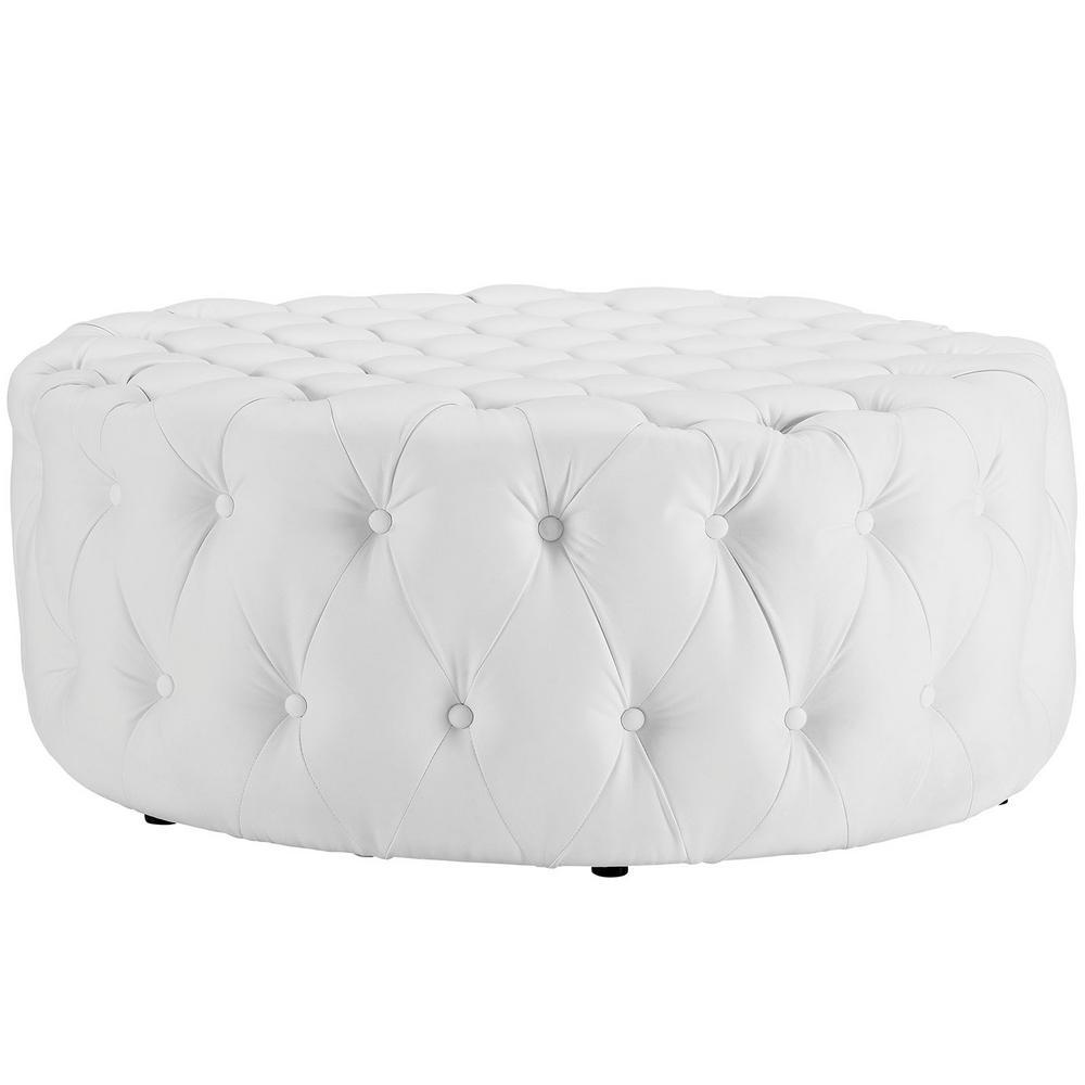 Enjoyable Modway White Amour Upholstered Vinyl Ottoman Eei 2224 Whi Uwap Interior Chair Design Uwaporg