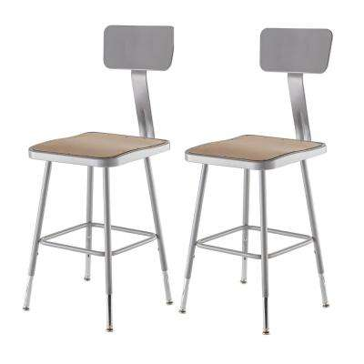 19 in. to 27 in. Height Adjustable Grey Heavy Duty Square Seat Steel Stool with Backrest (2-Pack)