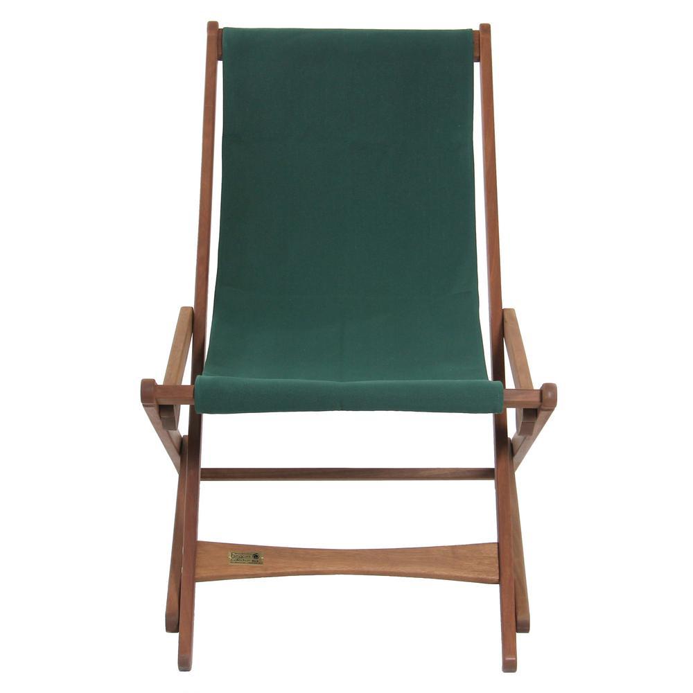 Green Keruing Wood Folding Sling Chair