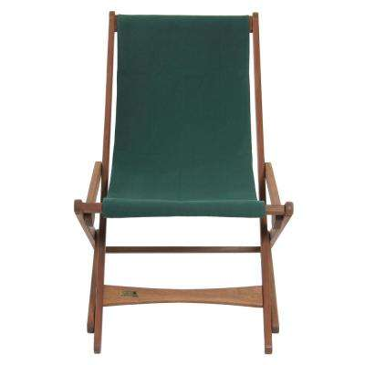 Green Keruing Wood Folding Sling Chair