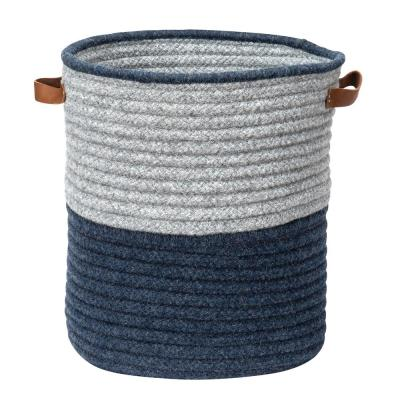 Casa Mesa Navy 16 in. x 16 in. x 20 in. Round Blended Wool Basket