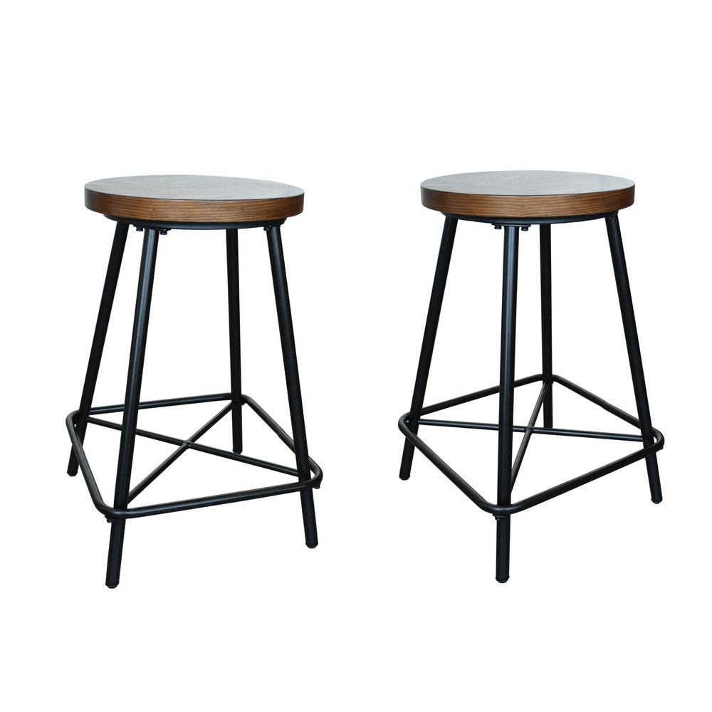 Carolina Forge Illona 24 In Elm Counter Stool Set Of 2 Bx1324 Elmblk The Home Depot