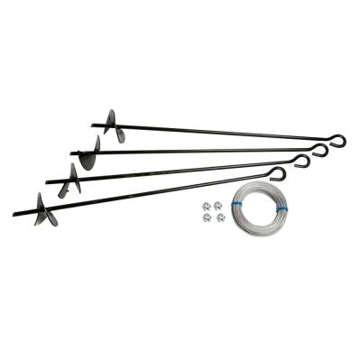 Arrow Auger Anchor Kit (set of 4 Anchors and 4 Clamps) with Steel Construction and Strong Wind Design
