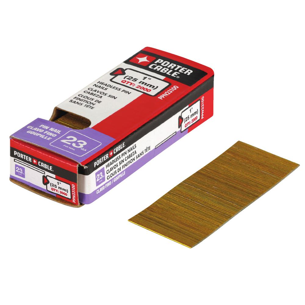 Porter-Cable 1 in. x 23-Gauge Glued 2M Bright Pin Nails