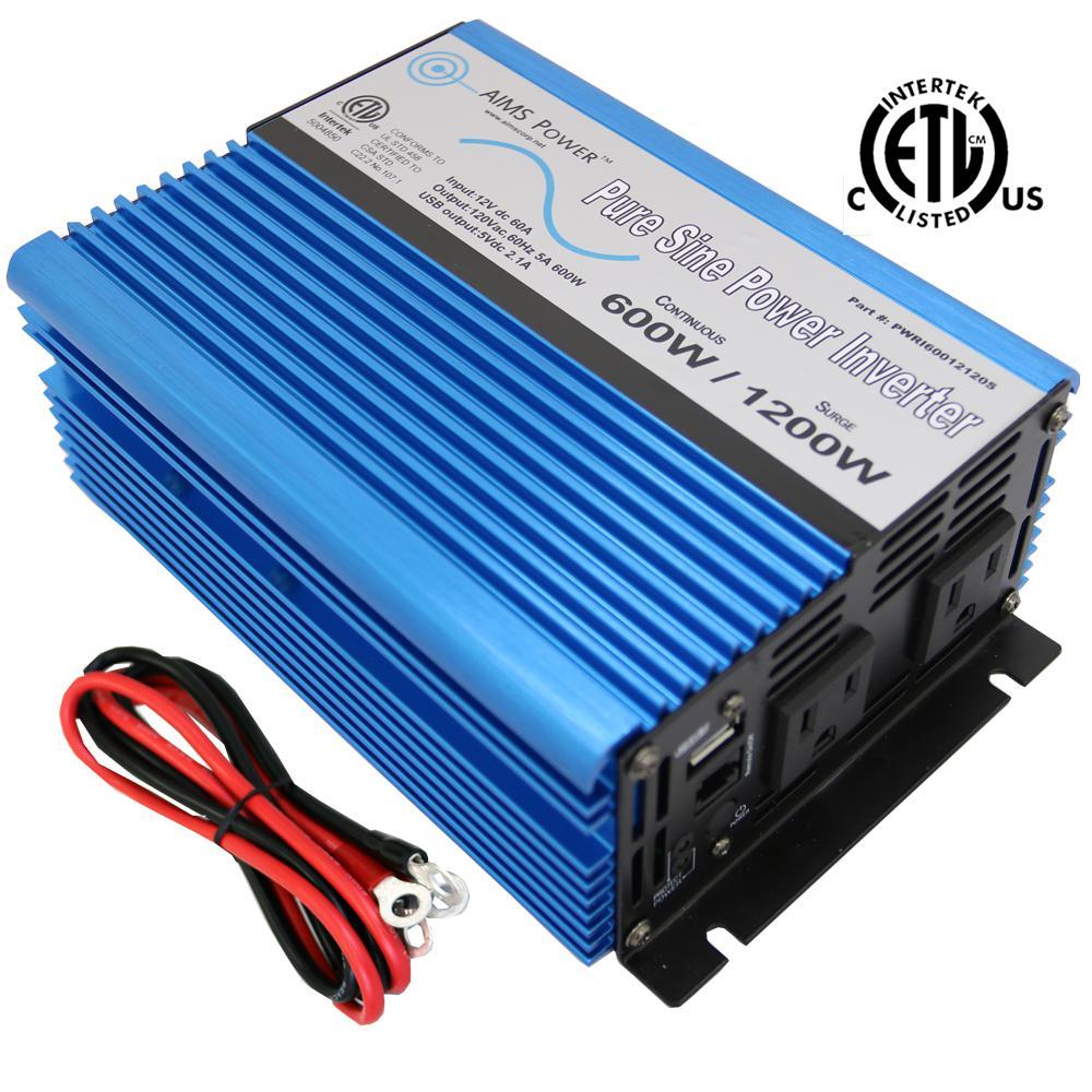 2000W 12V DC to 120V AC Pure Sine Wave Inverter Car//Home solar Power