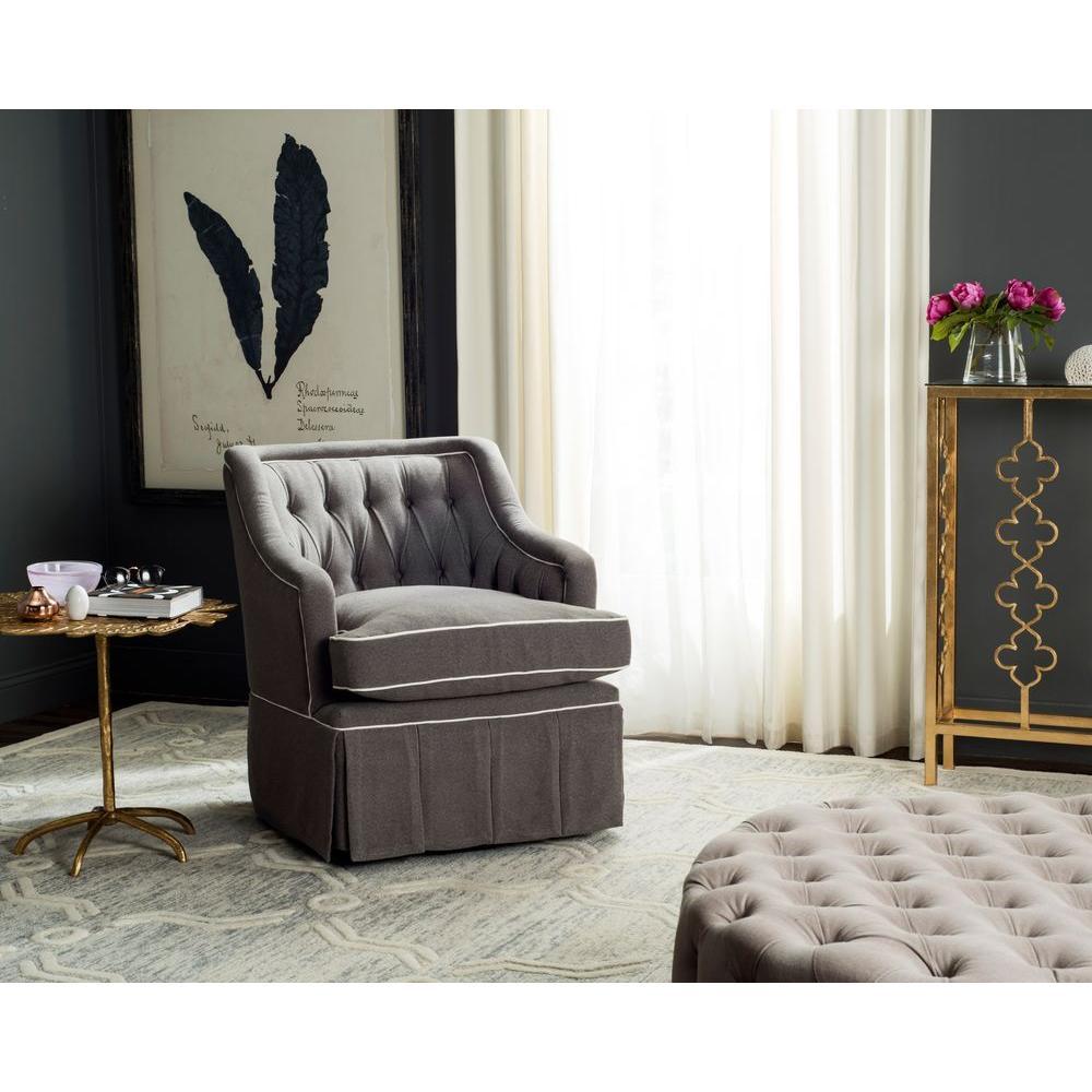 Safavieh Truitt Grey and White Polyester Swivel Arm Chair ...
