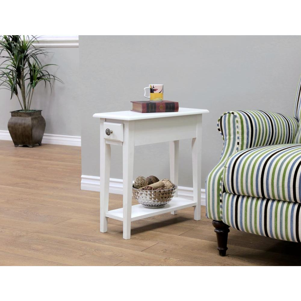 Storage End Tables For Living Room: MegaHome White Storage End Table-WH321