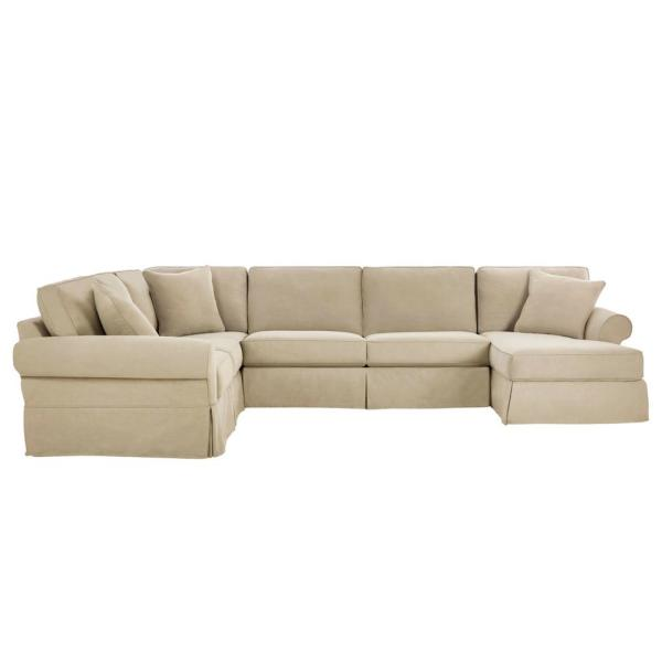 Hillbrook Essence Tan Wood U Shape Slipcovered Left Side Sectional (140.5 in. W x 36.5 in. H)