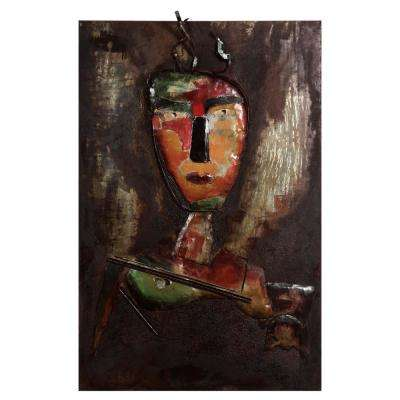 """48 in. x 32 in. """"Homme 3"""" Mixed Media Iron Hand Painted Dimensional Wall Art"""