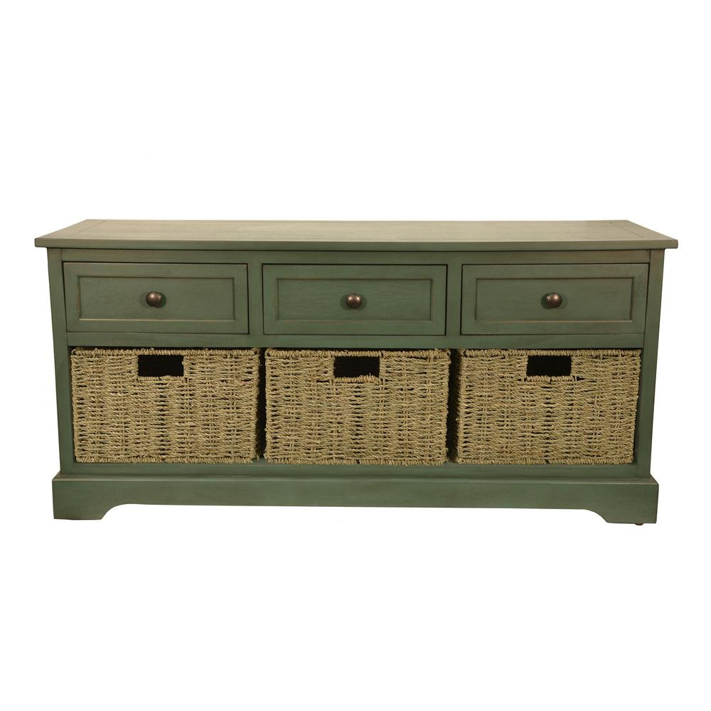 Montgomery Antique Teal Storage Bench