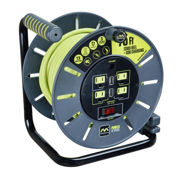 75 ft. 13 Amp 14 AWG Large Open Reel with USB Charging and 4-Sockets