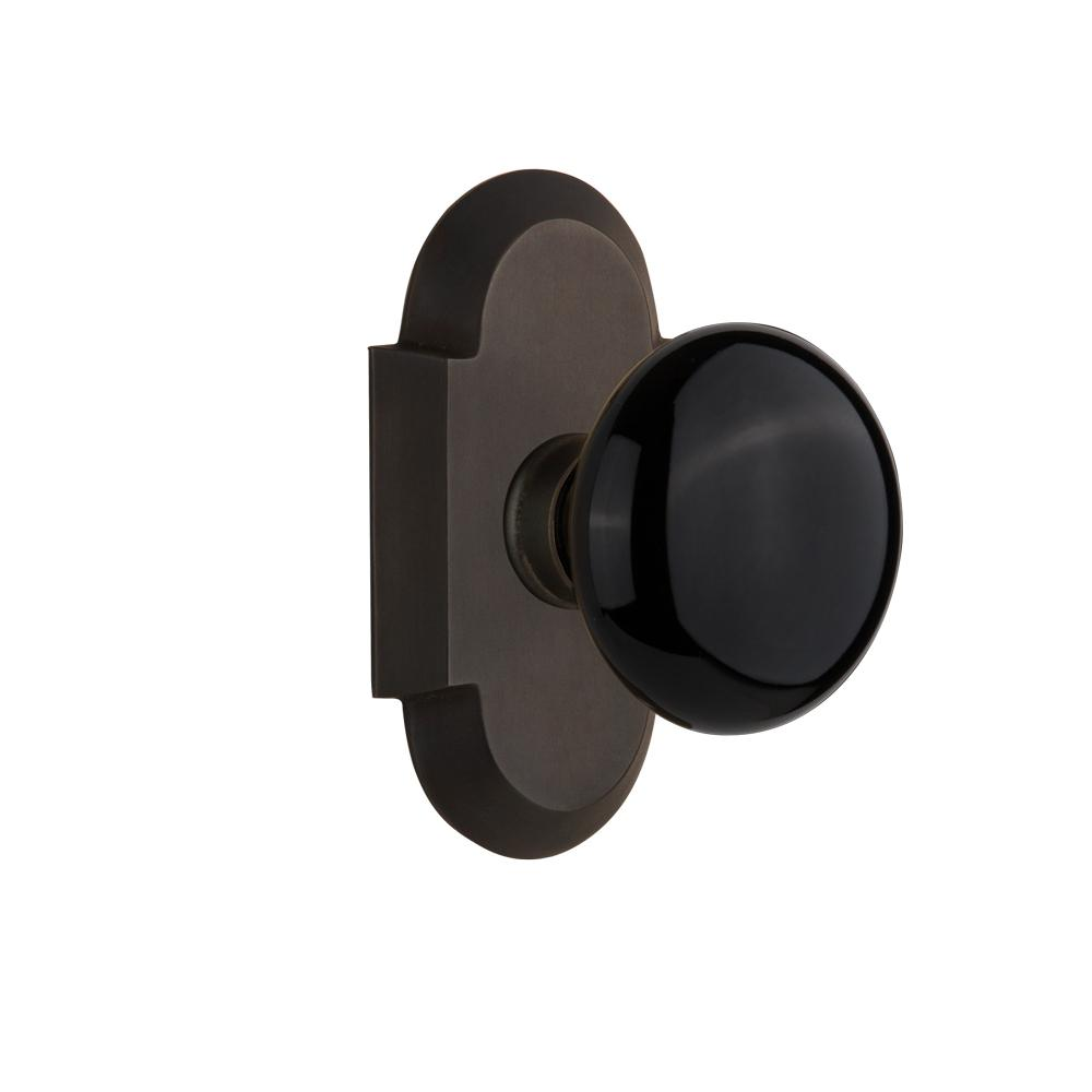 Cottage Plate 2-3/4 in. Backset Oil-Rubbed Bronze Passage Hall/Closet Black
