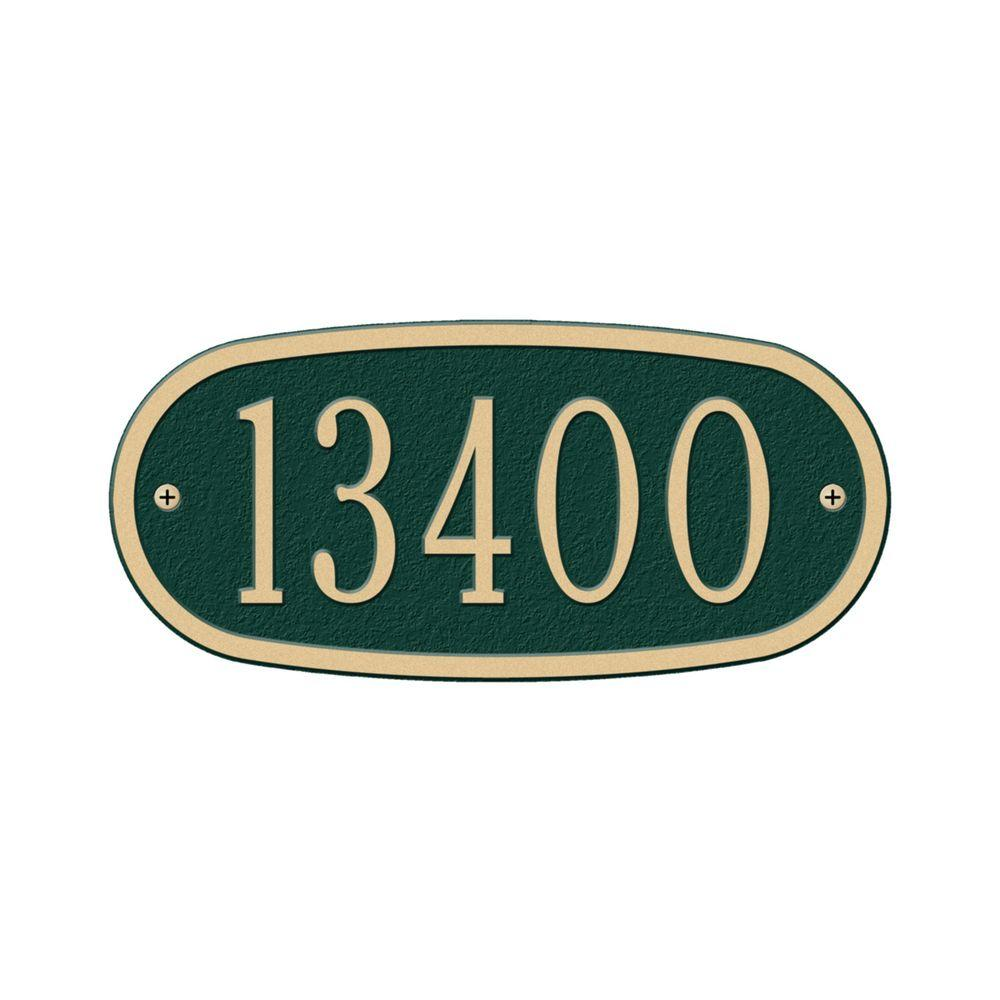 Whitehall Products Oval Green/Gold Petite Wall One Line Address Plaque